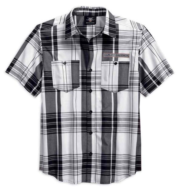 Harley-Davidson Mens High Density Print Logo Plaid Button Up Shirt 96124-18VM - Wisconsin Harley-Davidson