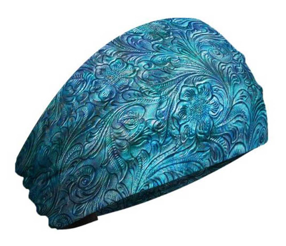 That's A Wrap Women's Tooled Leather Look Knotty Band Headwrap, KB3025-Blue - Wisconsin Harley-Davidson