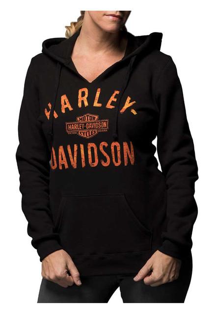 Harley-Davidson Women's Virtually Unstoppable Split Neck Pullover Fleece Hoodie - Wisconsin Harley-Davidson
