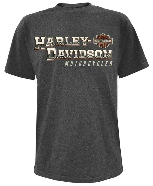 Harley-Davidson Mens Grip The Road Short Sleeve Crew T-Shirt, Charcoal 5L33-HF1H - Wisconsin Harley-Davidson