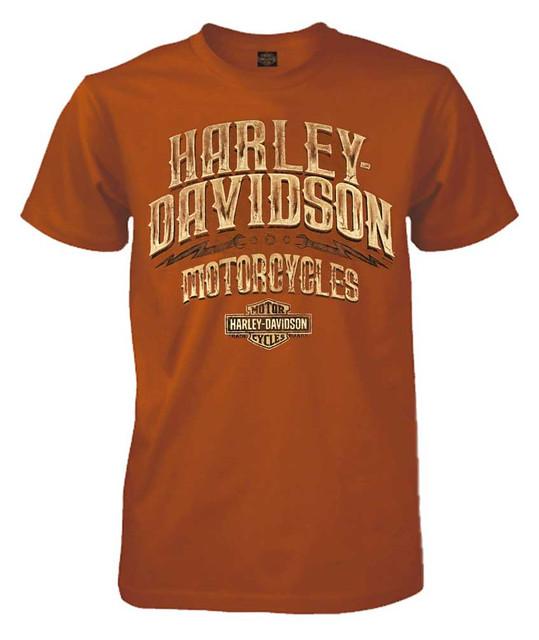 Harley-Davidson Men's Leather Options Short Sleeve Crew Tee, Orange 5L33-HE0X - Wisconsin Harley-Davidson