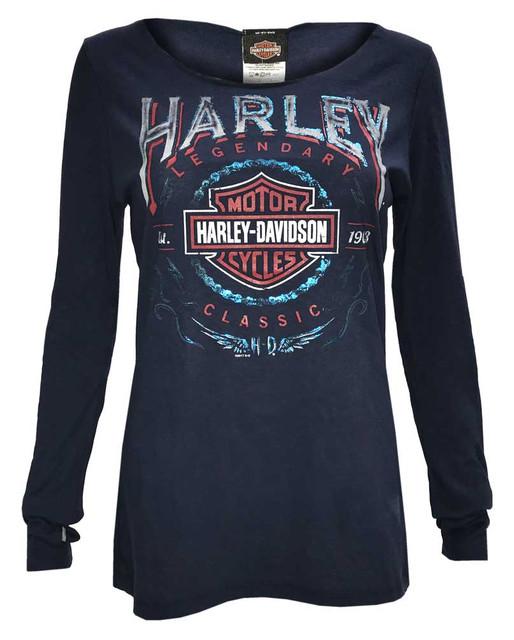 Harley-Davidson Women's Thunder Fury Long Sleeve Open Neck Jersey Tee, Navy - Wisconsin Harley-Davidson