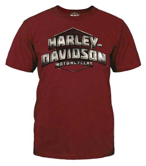 Harley-Davidson Men's Metal Heritage Short Sleeve Basic T-Shirt, Red 5L33-HF1Q - Wisconsin Harley-Davidson