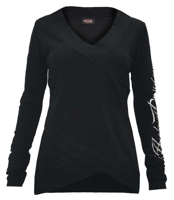 Harley-Davidson Women's Swift Wings Long Sleeve Cross Body Stretch Shirt, Black - Wisconsin Harley-Davidson