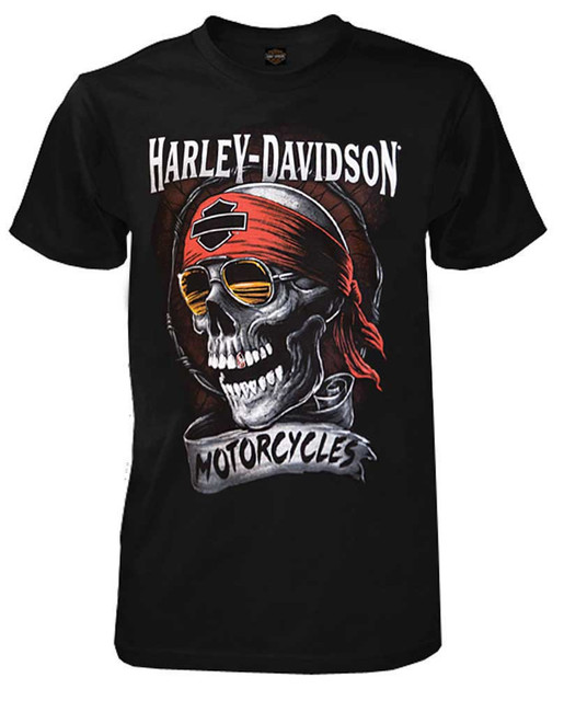 Harley-Davidson Men's Distressed Shady Skull Short Sleeve T-Shirt, Solid Black - Wisconsin Harley-Davidson