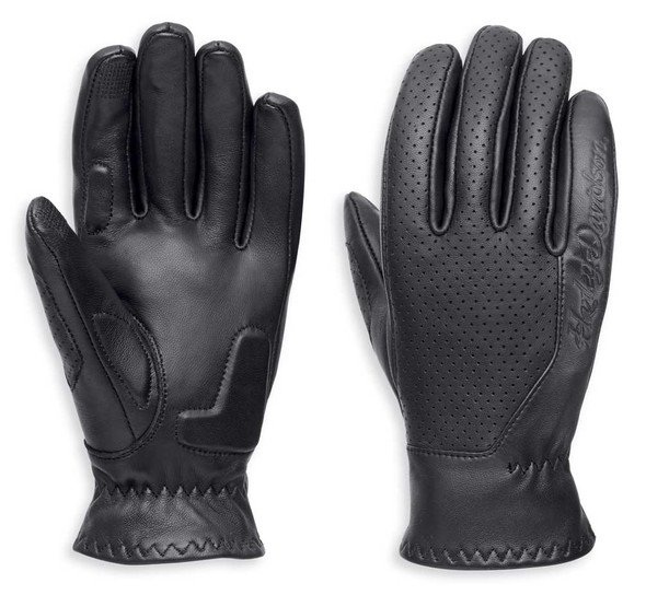 Harley-Davidson Women's Thayne Perforated Leather Gloves, Black 97118-18VW - Wisconsin Harley-Davidson