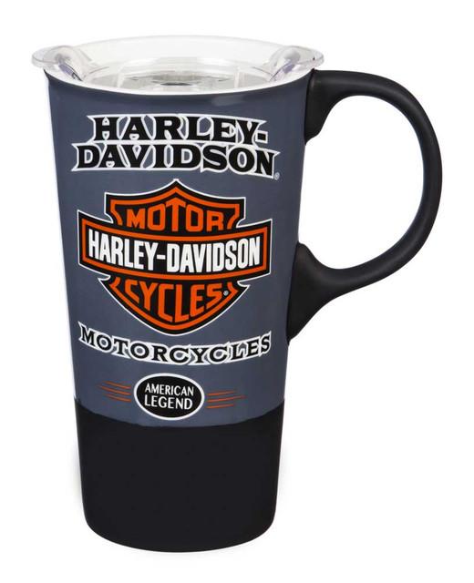 Harley-Davidson American Legend Ceramic Travel Cup w/ Silicone Handle & Base - Wisconsin Harley-Davidson