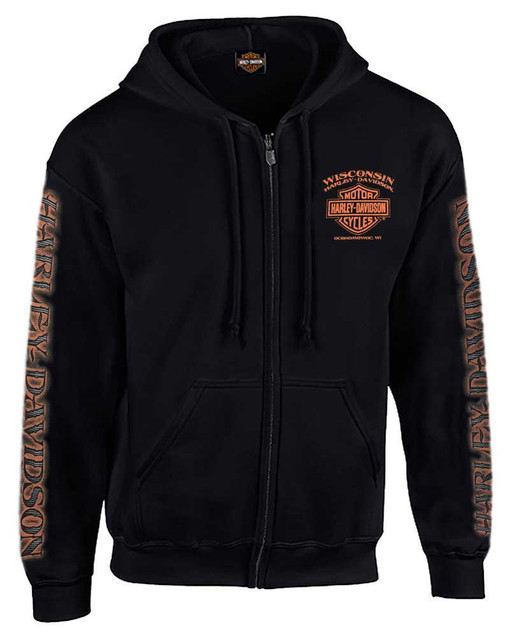 Harley-Davidson Men's Eagle Piston Long Sleeve Full-Zip Hoodie, Black 30299950 - Wisconsin Harley-Davidson