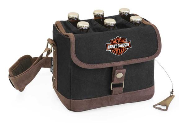 Harley-Davidson Bar & Shield Beer Caddy Cooler Tote w/ Opener, Black 762-00 - Wisconsin Harley-Davidson