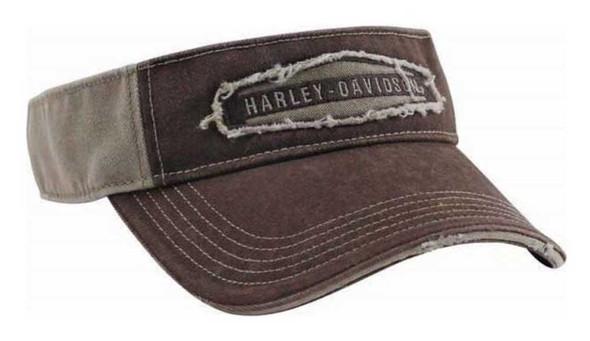 Harley-Davidson Men's Raw-Edge Hexagon Visor, Distressed Stone Wash VIS09504 - Wisconsin Harley-Davidson