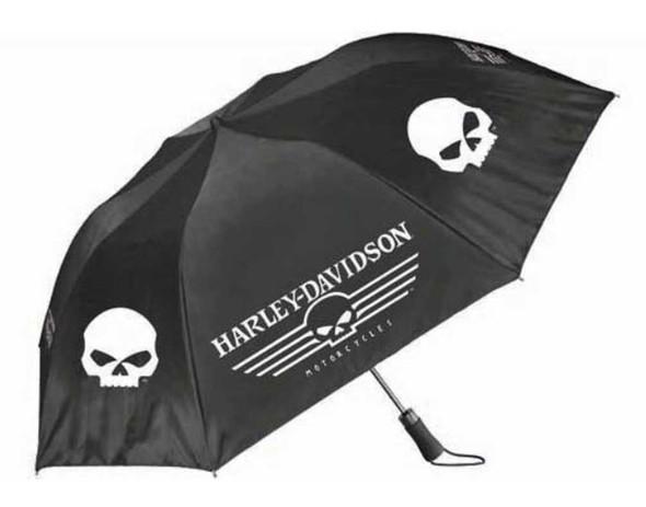 Harley-Davidson Linear Skull 44in. Retractable Umbrella, Black & White UMB119988 - Wisconsin Harley-Davidson