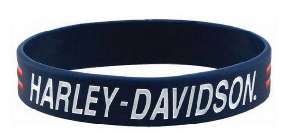 Harley-Davidson Debossed H-D Script Silicone Wristband, Blue w/ Ink Fill WB51684 - Wisconsin Harley-Davidson