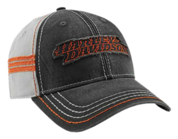 Harley-Davidson Men's Embroidered Raw-Edge Restored Baseball Cap, Black BCC29880 - Wisconsin Harley-Davidson