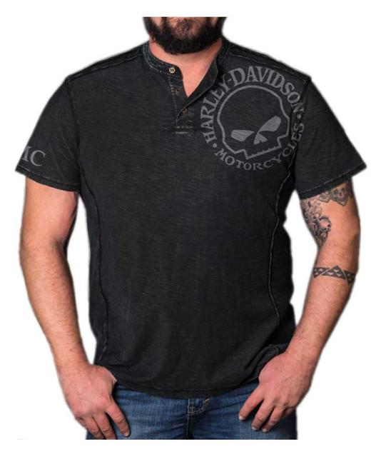 Harley-Davidson Men's Distressed Willie G Premium Henley Button Tee, Black Iron - Wisconsin Harley-Davidson