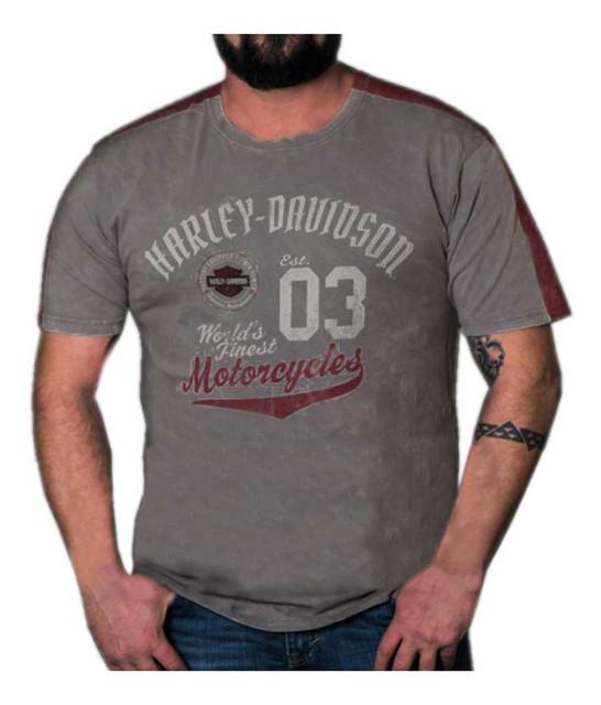 Harley-Davidson Men's Statement Premium Short Sleeve Panel T-Shirt, Steel Gray - Wisconsin Harley-Davidson