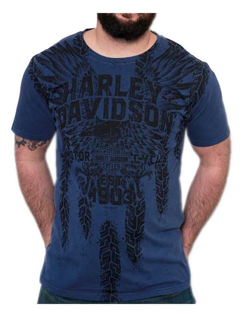 Harley-Davidson Men's Pathways Premium Short Sleeve T-Shirt, Royal Washed - Wisconsin Harley-Davidson