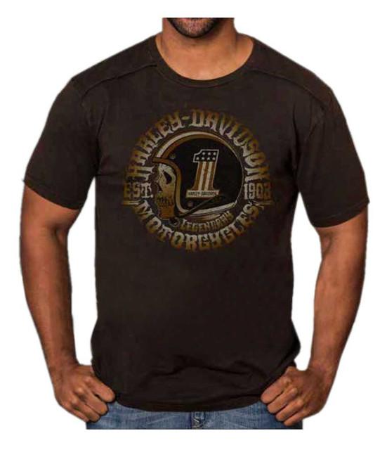 Harley-Davidson Men's Hero Skull Premium Short Sleeve T-Shirt, Black Rust Wash - Wisconsin Harley-Davidson