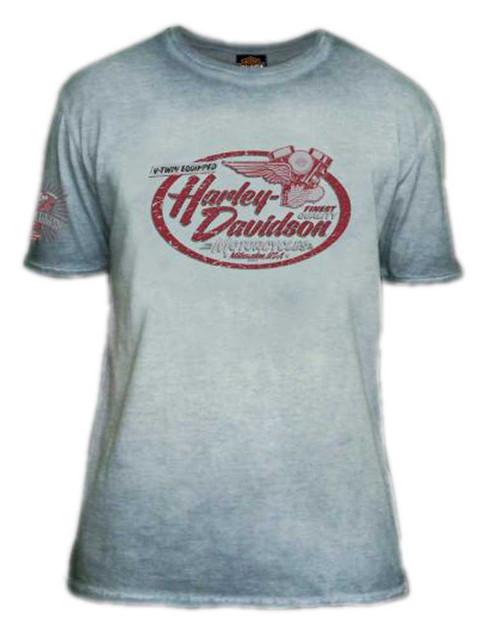 Harley-Davidson Men's Hasten Premium Short Sleeve Crew-Neck Tee, Vintage Indigo - Wisconsin Harley-Davidson