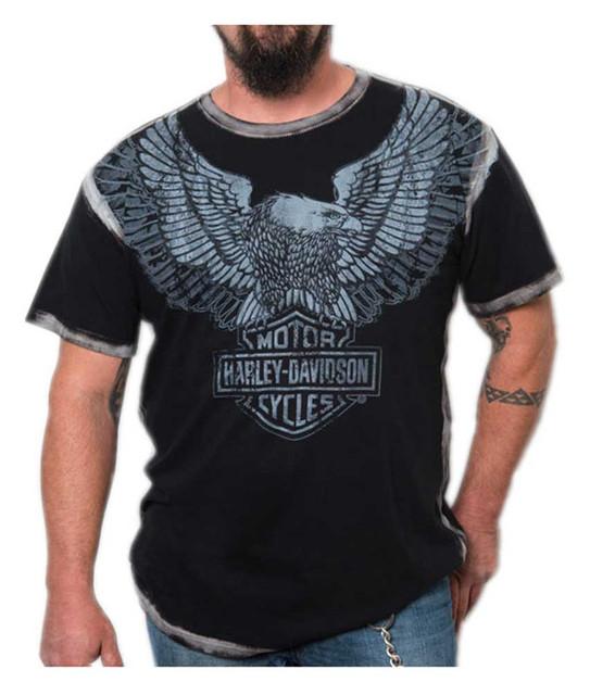 Harley-Davidson Men's Upswept Eagle Premium Short Sleeve Tee, Grease Black - Wisconsin Harley-Davidson