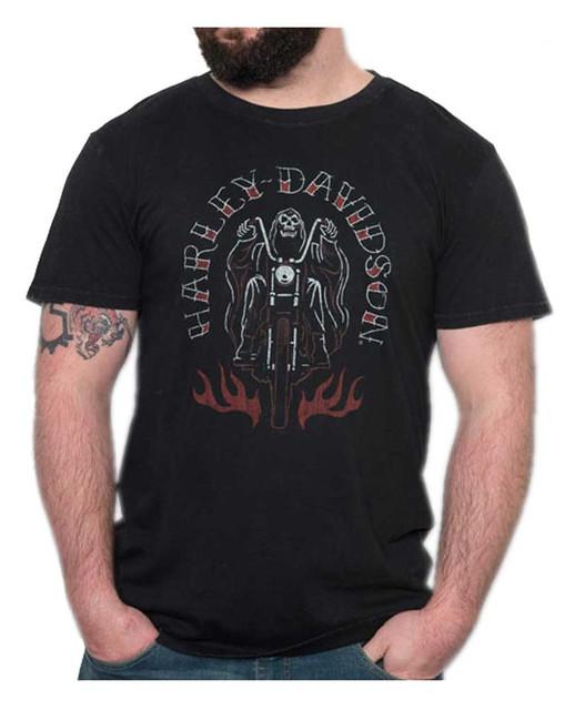 Harley-Davidson Men's Grim Rider Premium Short Sleeve T-Shirt, Black Marble - Wisconsin Harley-Davidson