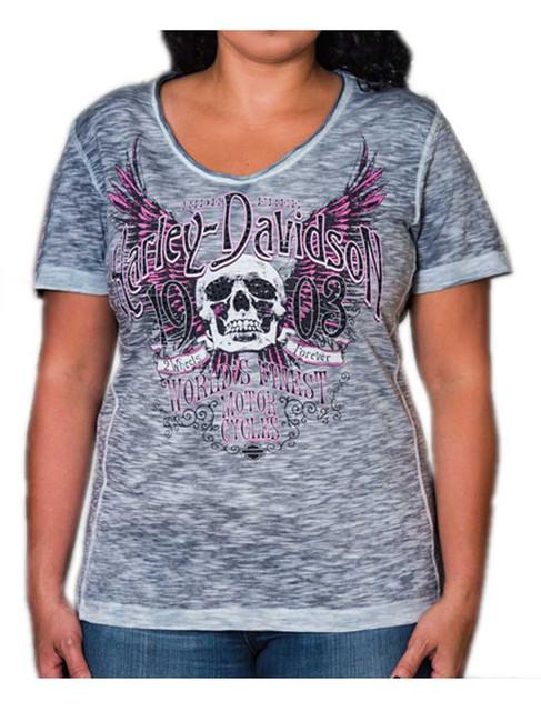 Harley-Davidson Women's Trance Premium Embellished Scoop Neck Tee, Navy - Wisconsin Harley-Davidson