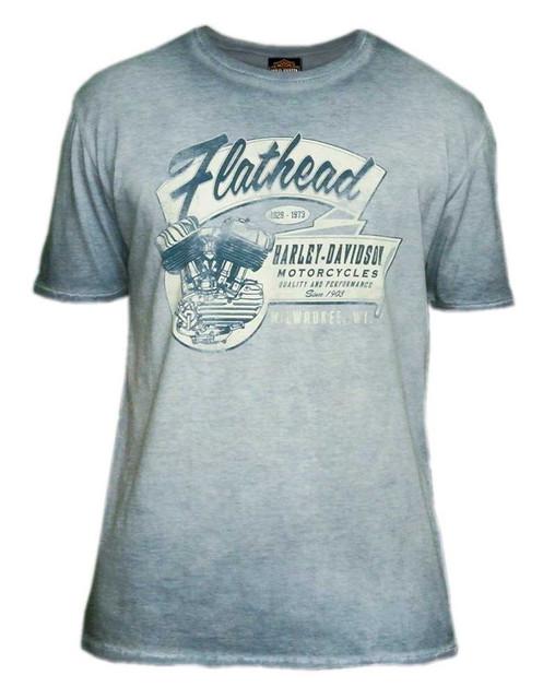 Harley-Davidson Men's Flathead Motors Premium Short Sleeve Tee, Vintage Indigo - Wisconsin Harley-Davidson