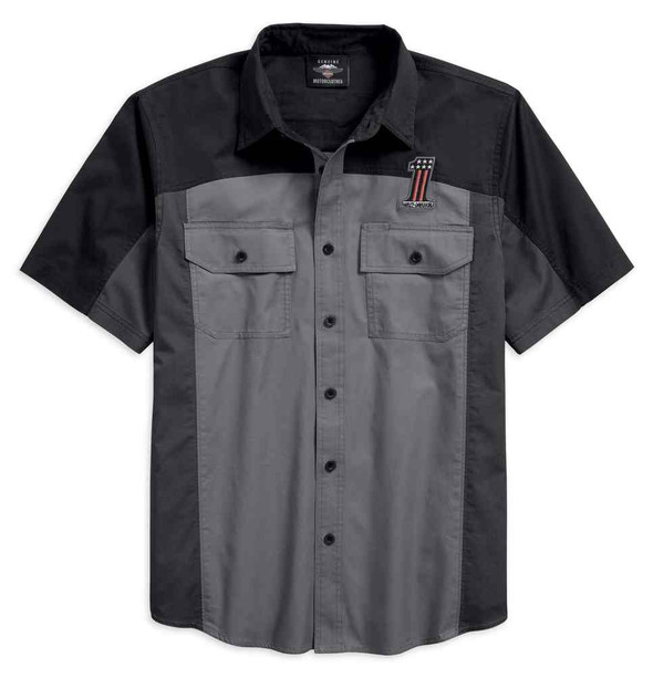 Harley-Davidson Men's #1 Colorblocked Short Sleeve Woven Shirt 96187-18VM - Wisconsin Harley-Davidson