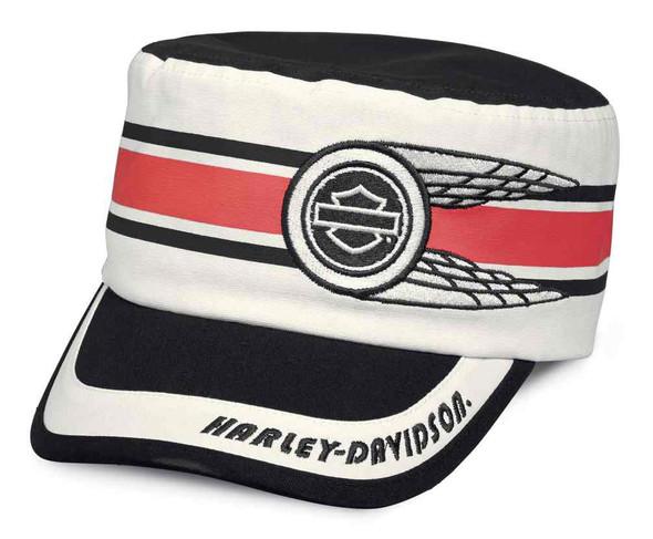 Harley-Davidson Women's Race Stripe Flat Top Cap, Black & White 97684-18VW - Wisconsin Harley-Davidson