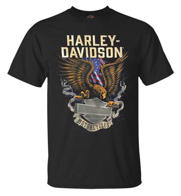 Harley-Davidson Men's Eagle Block B&S Short Sleeve Crew Neck T-Shirt, Black - Wisconsin Harley-Davidson