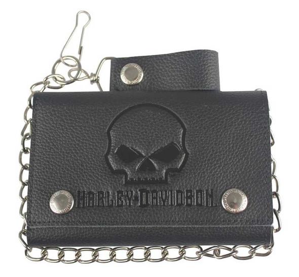 Harley-Davidson Men's Skull Embossed Trucker Tri-Fold Plus Wallet XML4719-BLACK - Wisconsin Harley-Davidson