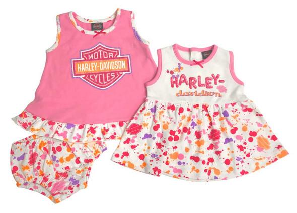 Harley-Davidson Baby Girls' Glitter Newborn 2-Pack Sundresses w/ Bottoms 9002811 - Wisconsin Harley-Davidson