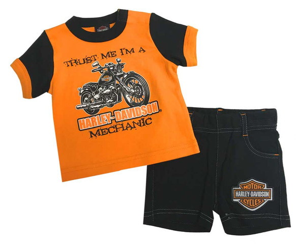 Harley-Davidson Baby Boys' 2 Piece Newborn Graphic Tee & Shorts Set 2052809 - Wisconsin Harley-Davidson
