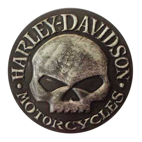 Harley-Davidson Distressed Willie G Skull Leather Emblem Patch, 3.75 inches - Wisconsin Harley-Davidson