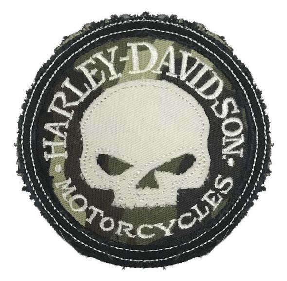Harley-Davidson Genuine Camo Willie G Skull Frayed Emblem Patch, 3.5 inch - Wisconsin Harley-Davidson