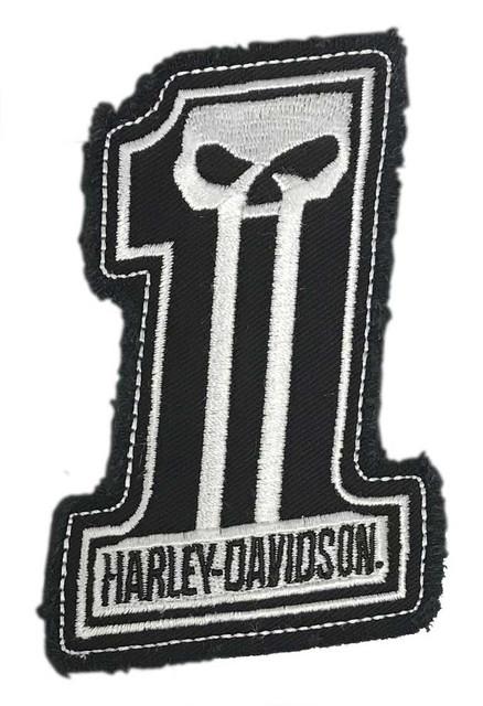 Harley-Davidson Dark Custom #1 Skull Frayed Emblem Patch, 4 x 3 inches - White - Wisconsin Harley-Davidson