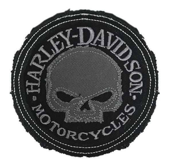 Harley-Davidson Genuine Gray Willie G Skull Frayed Emblem Patch, 3.5 inch - Wisconsin Harley-Davidson