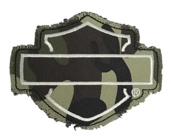 Harley-Davidson Genuine Camo Bar & Shield Frayed Emblem Patch, 4 x 3 inches - Wisconsin Harley-Davidson