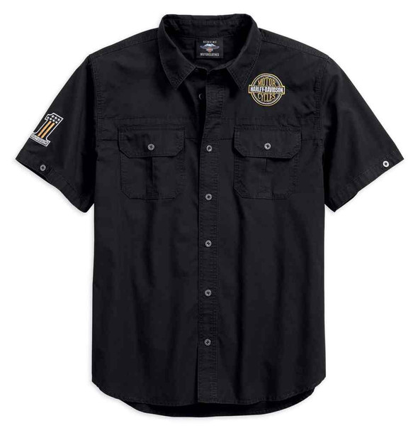 Harley-Davidson Men's Race Flag Short Sleeve Woven Shirt, Black 96188-18VM - Wisconsin Harley-Davidson
