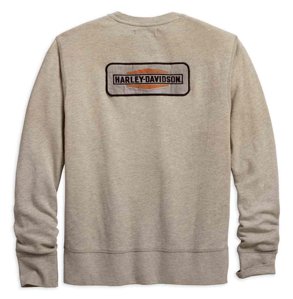 Harley-Davidson Men's Canvas Patch Slim Fit Pullover Sweatshirt, Tan 96272-18VM - Wisconsin Harley-Davidson