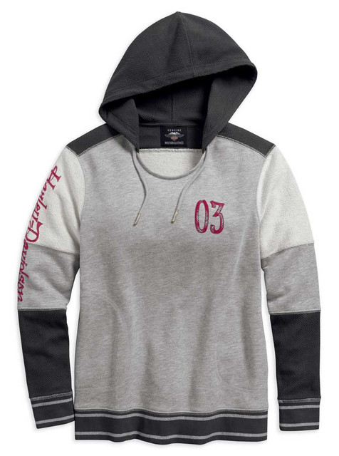 Harley-Davidson Women's Colorblocked French Terry Pullover Hoodie 96150-18VW - Wisconsin Harley-Davidson