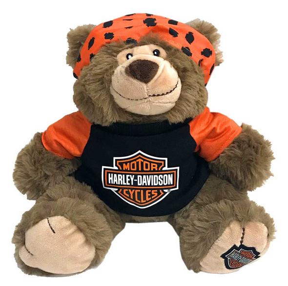 Harley-Davidson Big Ed 12 in. Huggy Stuffed Plush Bear, Black & Orange 9950849 - Wisconsin Harley-Davidson