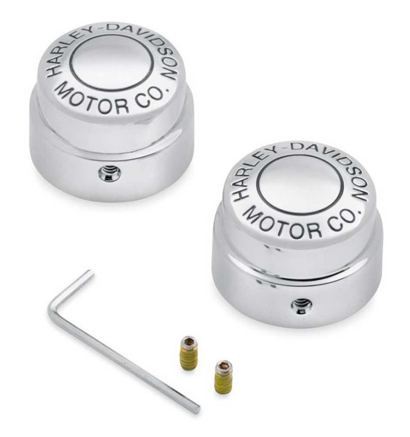 Harley-Davidson Front Axle Nut Covers - Chrome Motor Co. Dyna & Touring 43063-04 - Wisconsin Harley-Davidson
