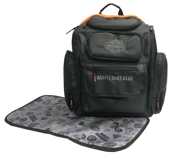Harley-Davidson Baby Embroidered Bar & Shield Diaper Bag Backpack, Black 7150877 - Wisconsin Harley-Davidson