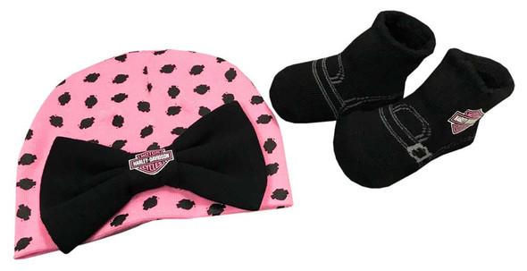Harley-Davidson Baby Girls' Beanie & Biker Booties Set, Pink & Black 7000881 - Wisconsin Harley-Davidson