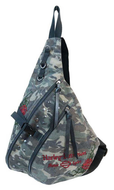 Harley-Davidson Women's Rose Embroidery Camo Print Sling Backpack WC6117S-CAMO - Wisconsin Harley-Davidson