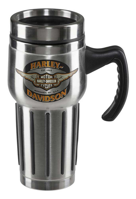 Harley-Davidson Core Winged Bar & Shield Travel Mug - Stainless Steel HDX-98610 - Wisconsin Harley-Davidson