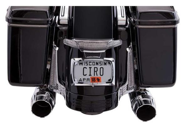 Ciro Latitude Tail Light & License Plate Holder - Chrome, Fits '10-'13 & '14-up - Wisconsin Harley-Davidson