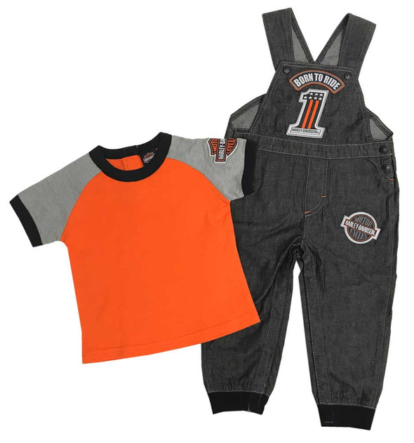 Harley-Davidson Baby Boys' #1 Tee & Black Denim Overall 2-Piece Set 3061811 - Wisconsin Harley-Davidson