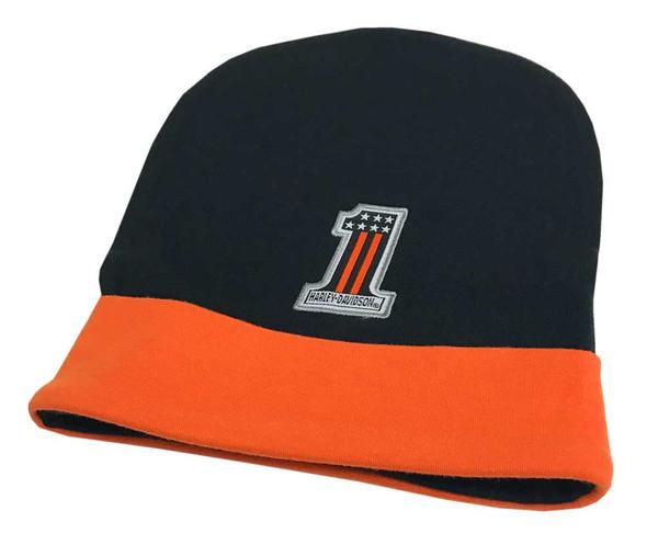 Harley-Davidson Baby Boys' Slouchy Knit Beanie Hat, Black & Orange 7261803 - Wisconsin Harley-Davidson