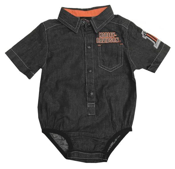 Harley-Davidson Baby Boys' Embroidered Newborn Black Denim Creeper 3051807 - Wisconsin Harley-Davidson